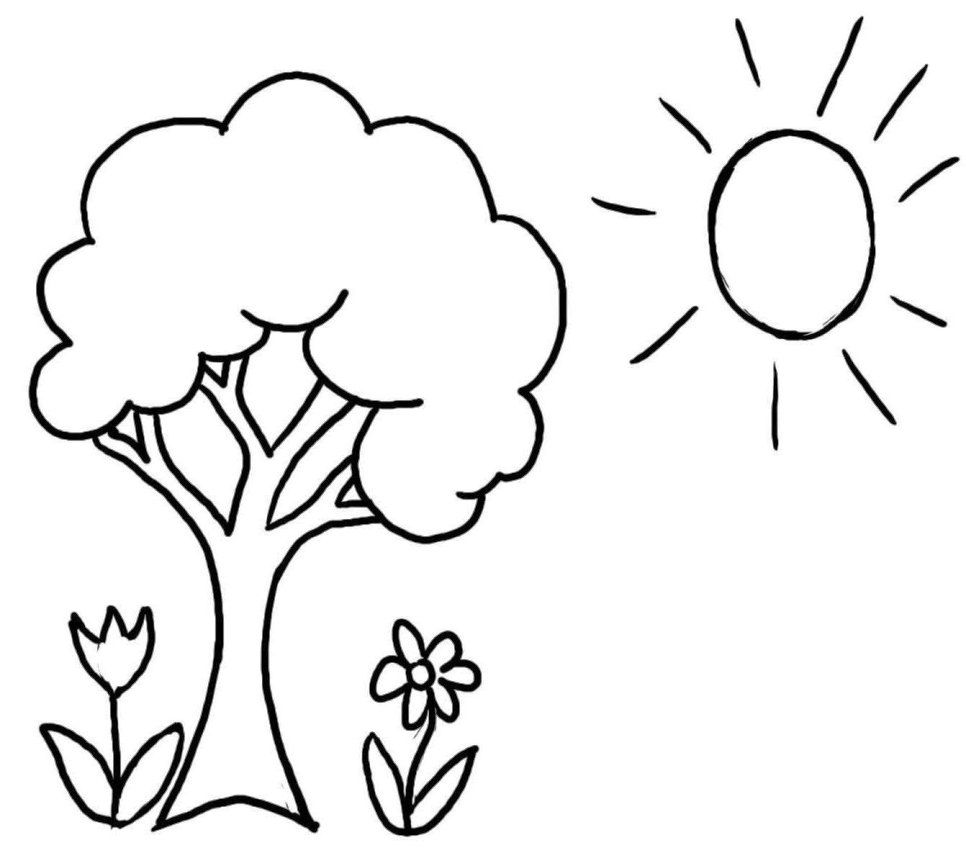 Mewarnai Gambar Pohon dan Bunga