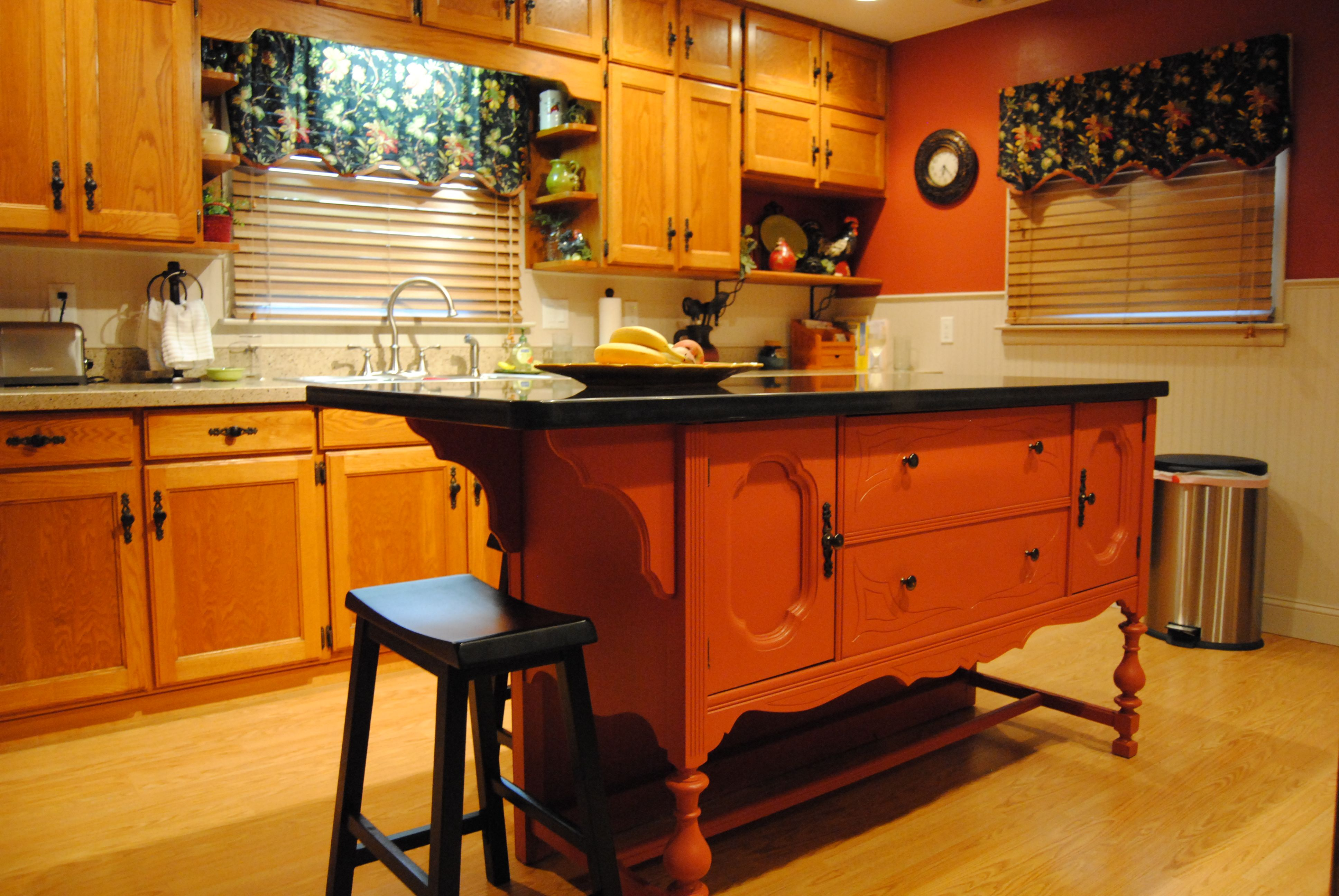 Repurposed Antique Buffet Transformed into an Eat At