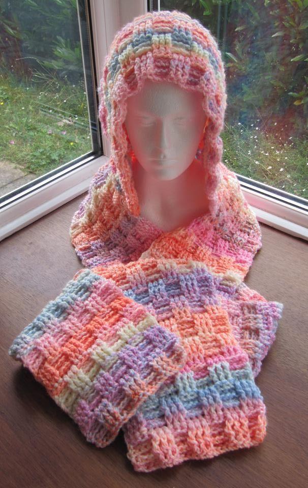 Basketweave Scoodie Crochet James C Brett Marble Chunky Yarn 7mm