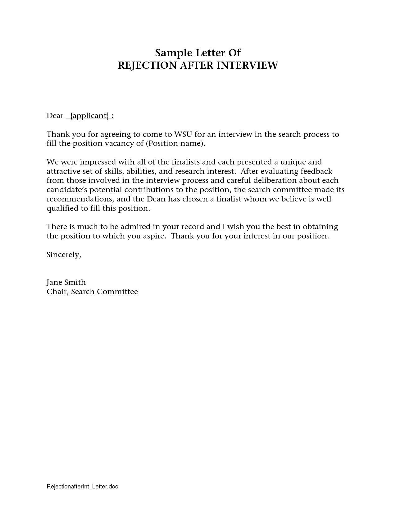Valid How To Turn Down A Job Interview Sample Letter Lettering
