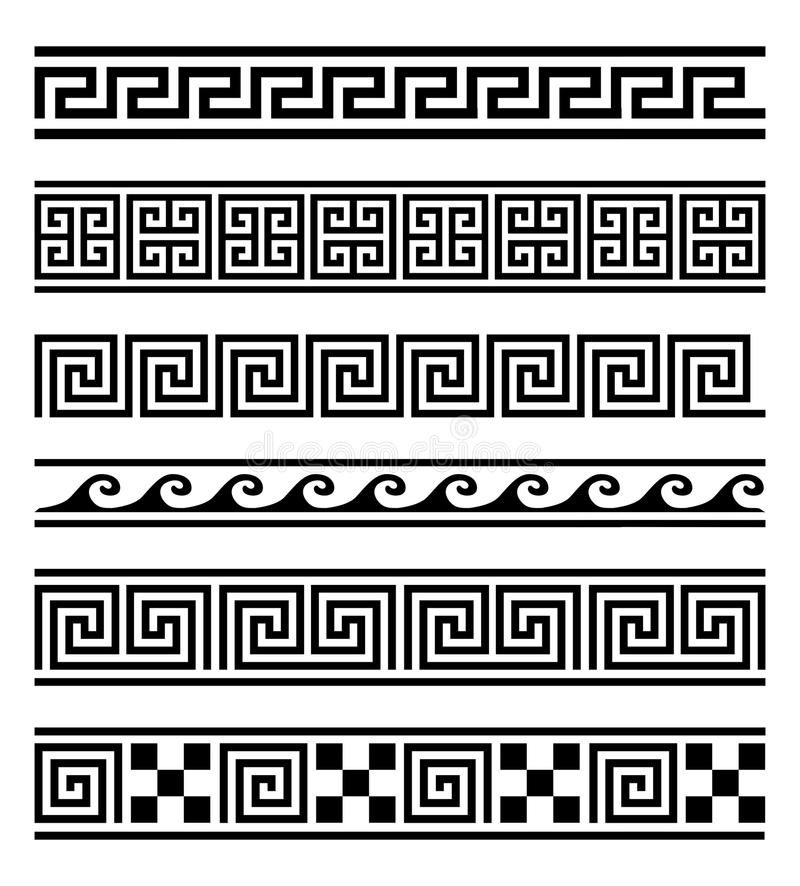 Illustration about Vector collection of 6 greek style geometric frames on white background. Vector