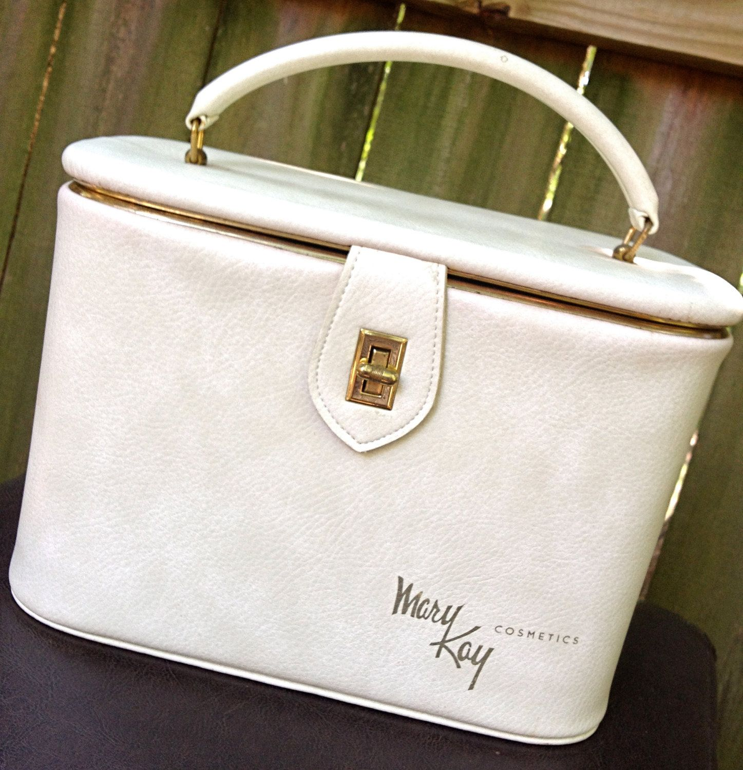 vintage makeup case ivory leather Mary Kay travel