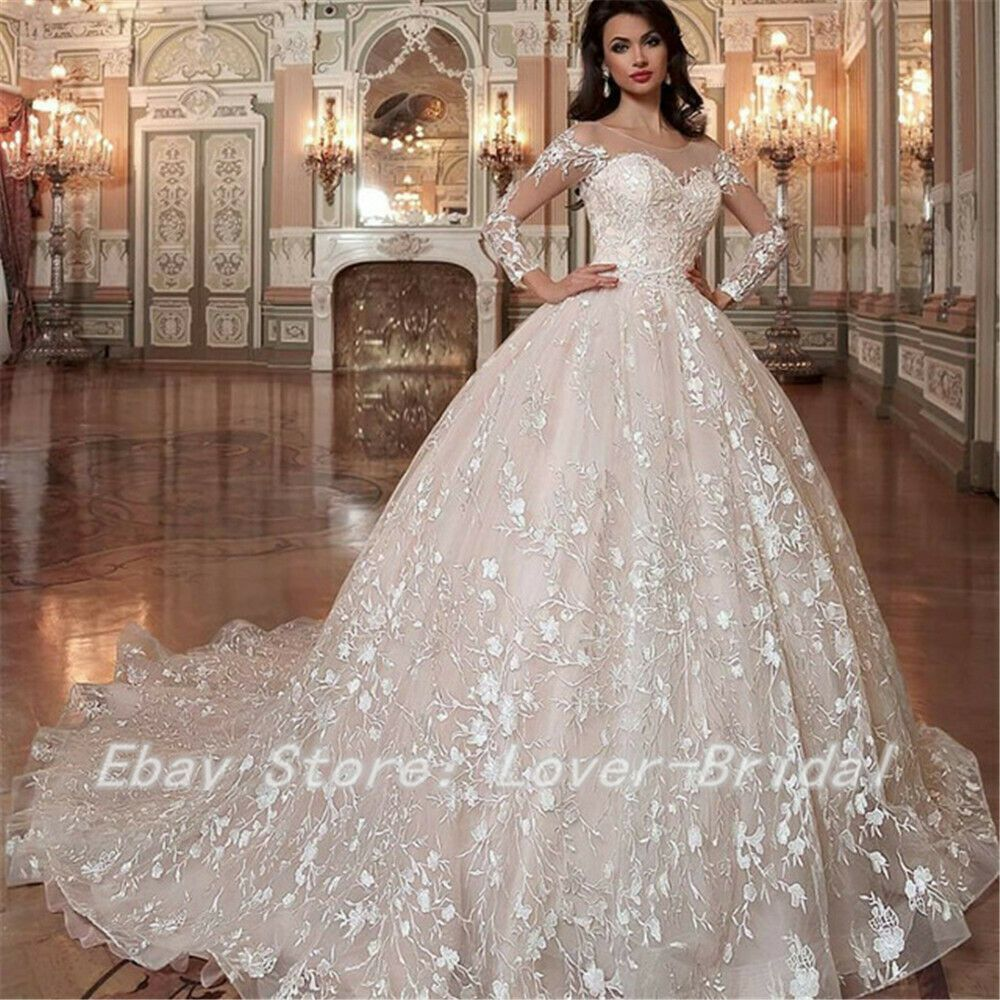Wedding Gowns Ebay: Luxurious Lace Illusion Wedding Gowns 2019 Ball