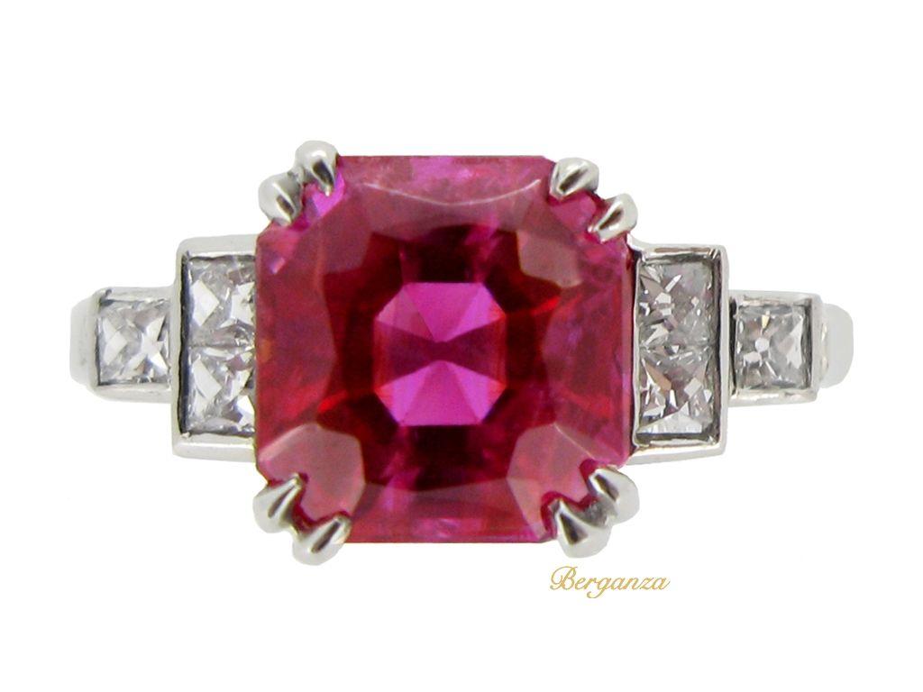Art deco natural Burmese ruby and diamond ring, circa 1935   Berganza
