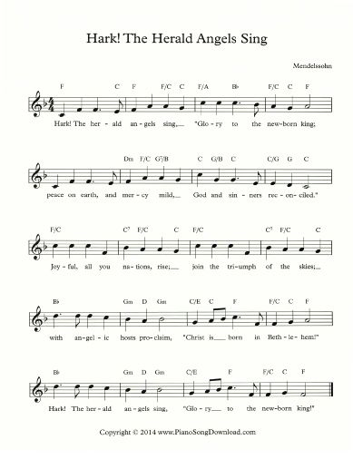 Hark The Herald Angels Sing Free Lead Sheet To Print At