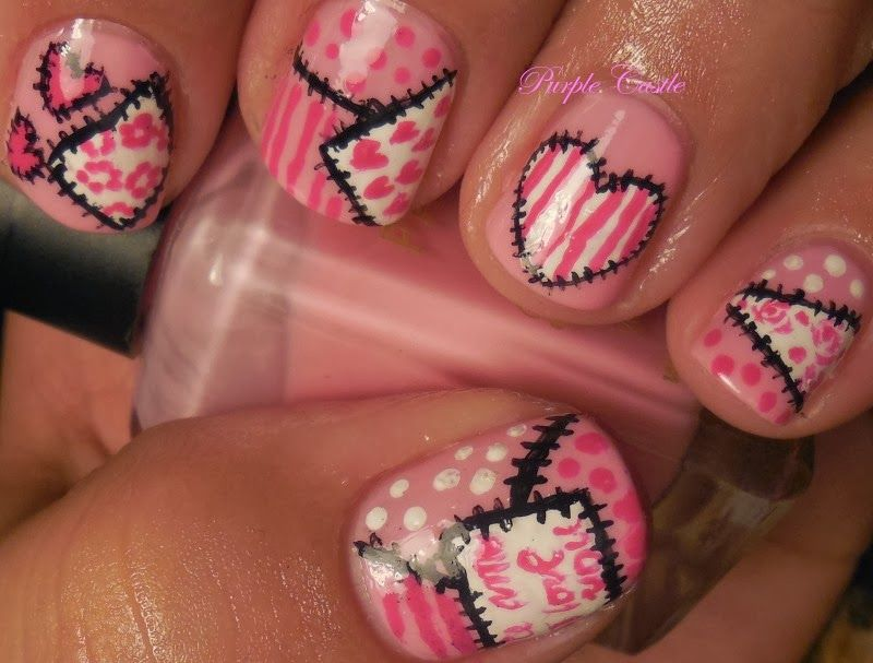 Valentine's Day Patchwork (With images) | Valentines nail ...
