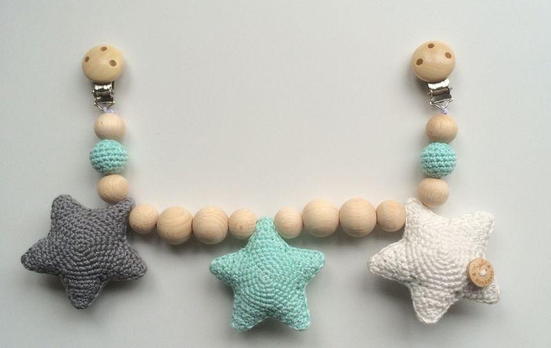 Iets Nieuws Wagenspanner sterren - donkergrijs, mintgroen, gebroken wit | Yarn &YC59