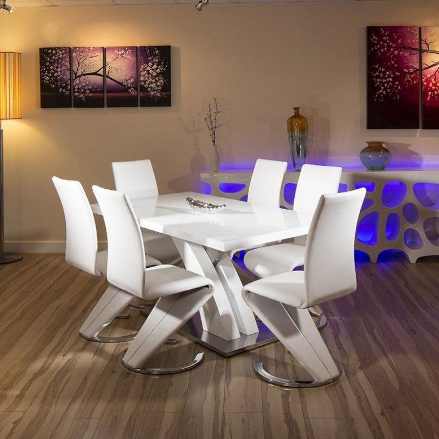 Modern White Glass Dining Set Glass top Table 6 x White Chairs