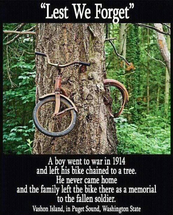 The picture is real - the caption is FAKE - bike was 'only' left in 1954. See SNOPES http://www.snopes.com/photos/natural/bicycle.asp