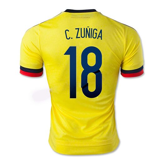 Maillot de foot Colombie Domicile 2015/2016 (18 C.Zuniga) Joune