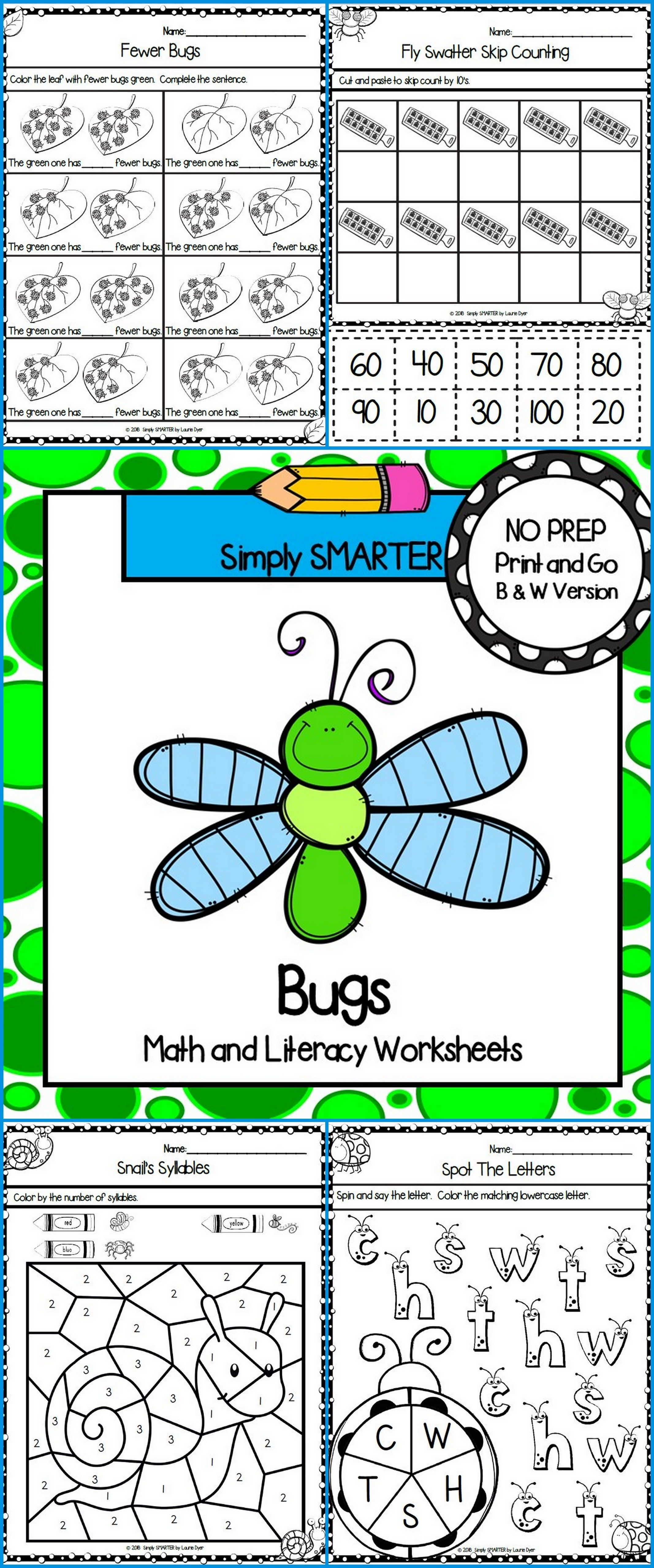 Bug And Insect Themed Kindergarten Math And Literacy