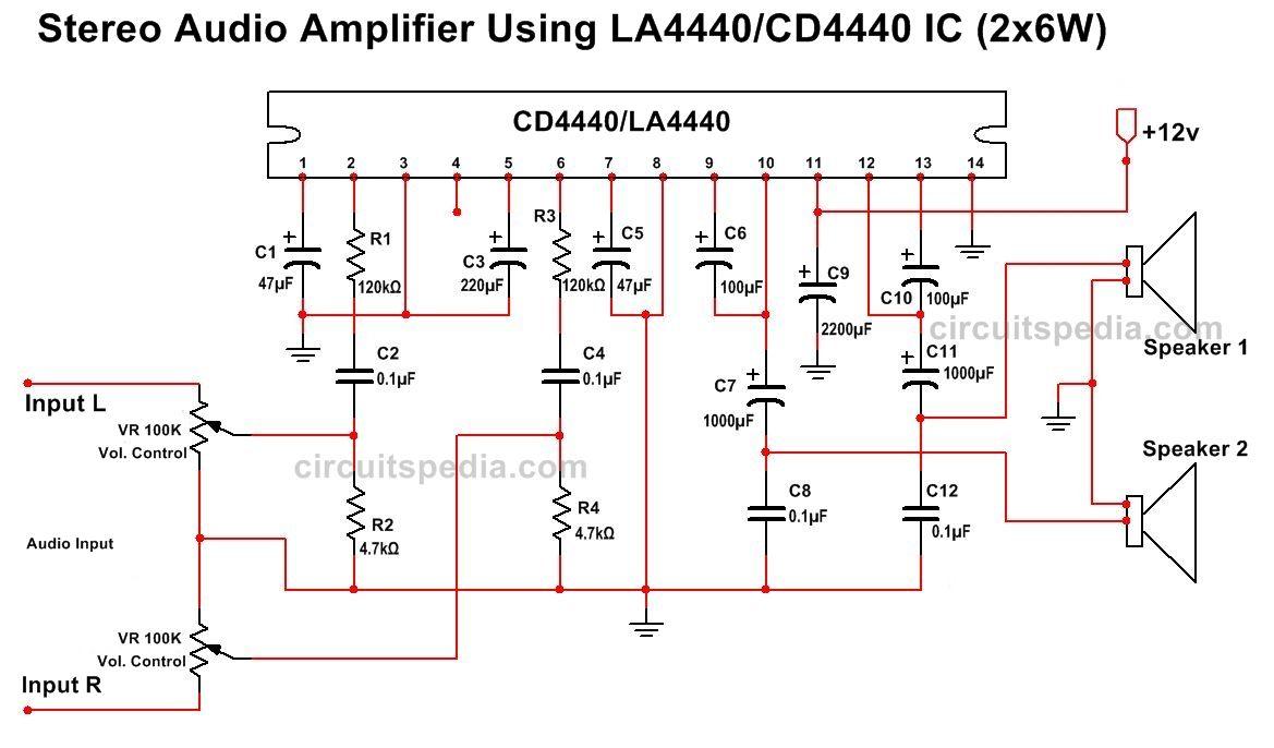 la4440 cd4440 stereo audio amplifier circuit diagram [ 1169 x 686 Pixel ]