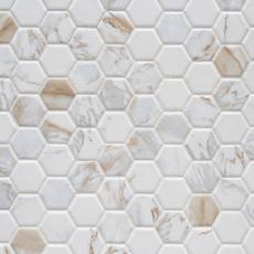 calacatta oro hexagon ceramic mosaic in