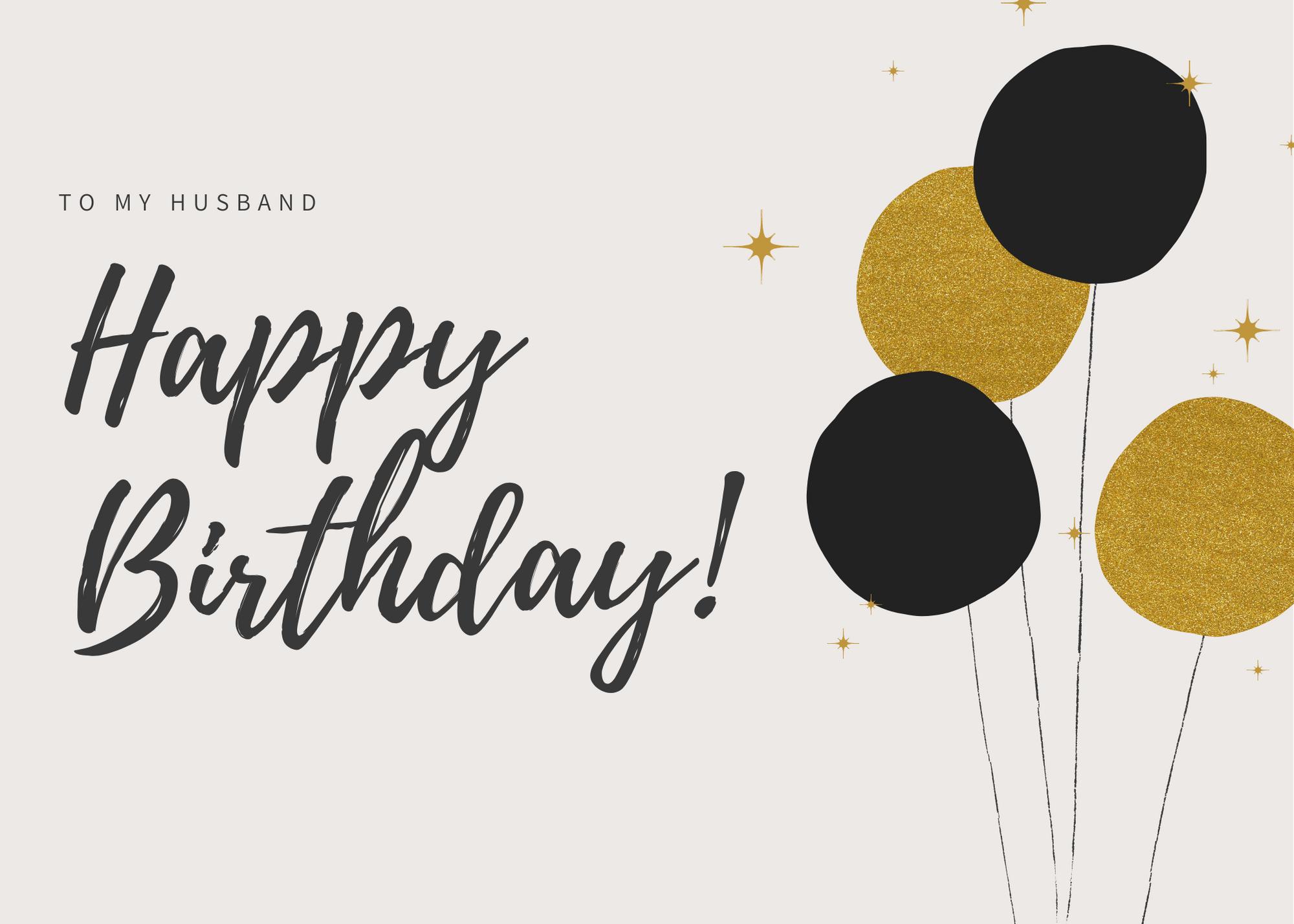 Golden Glow Birthday Card Husband Birthday Card Birthday Card Printable Happy Birthday Images