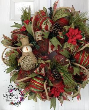 Deco Mesh CHRISTMAS Felt & Burlap Snowman Themed Wreath for Door or Wall Yarn Ornaments by erica