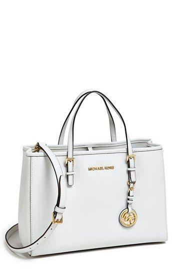 47f613547ef124 $268, White Leather Tote Bag: MICHAEL Michael Kors Michl Michl Kors Jet Set  Eastwest