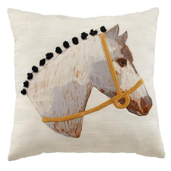 Equestrian Throw Pillow In Throw Pillows The Land Of Nod My Interesting Horse Pillows Decor