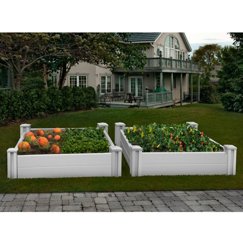 White Vinyl Raised Garden Bed  Pack Costco