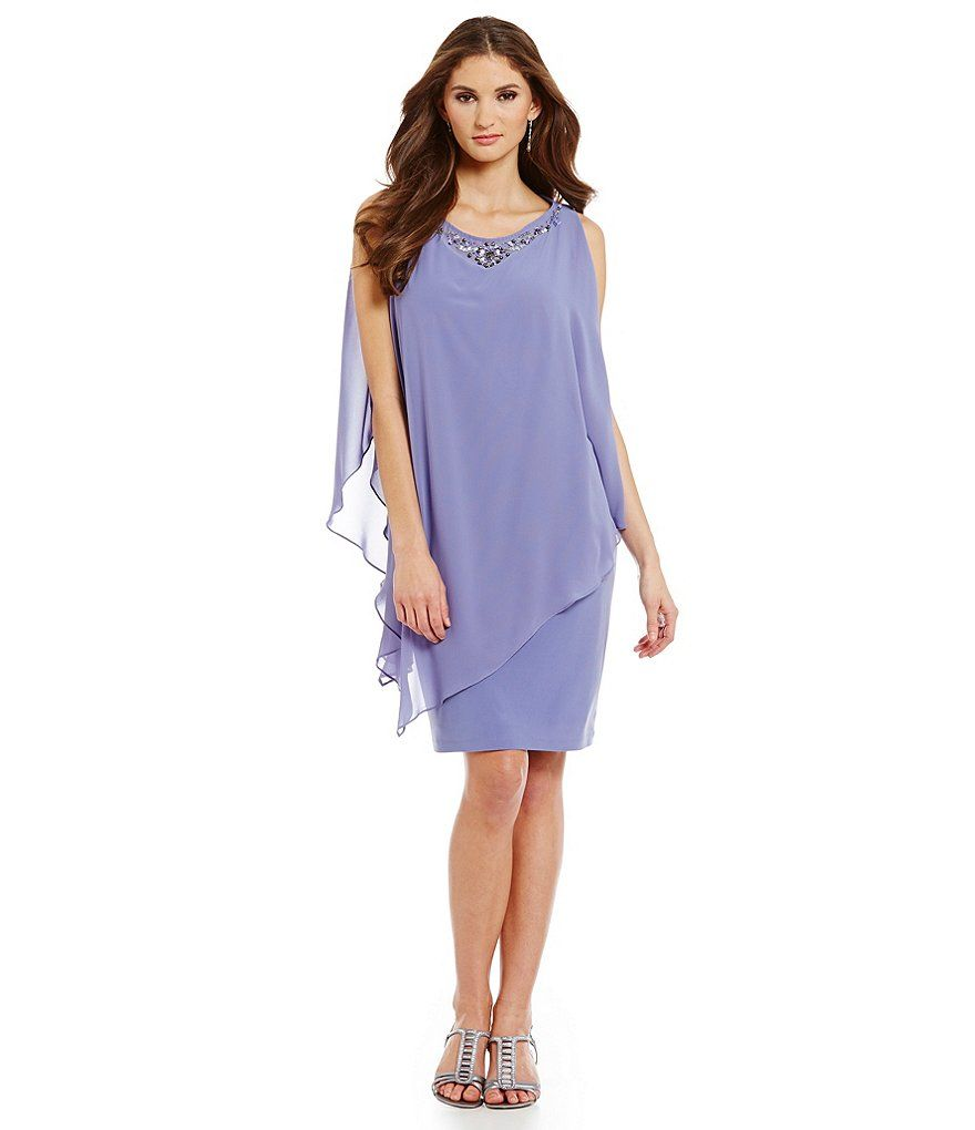 Sl sl fashion dresses - Violet S L Fashions Bead Neck 2 Piece Capelet Dress