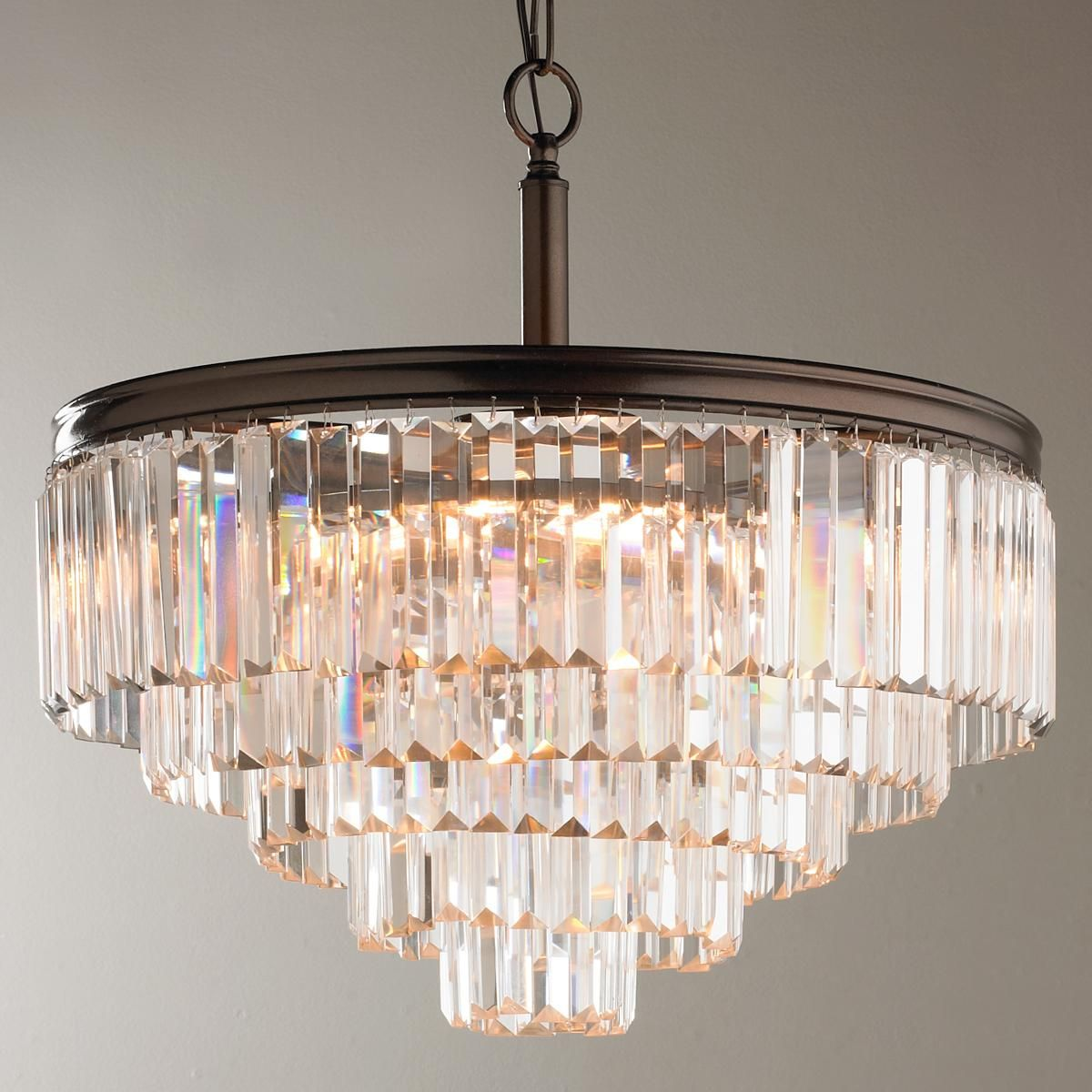 Modern Faceted Glass Layered Chandelier Convertible
