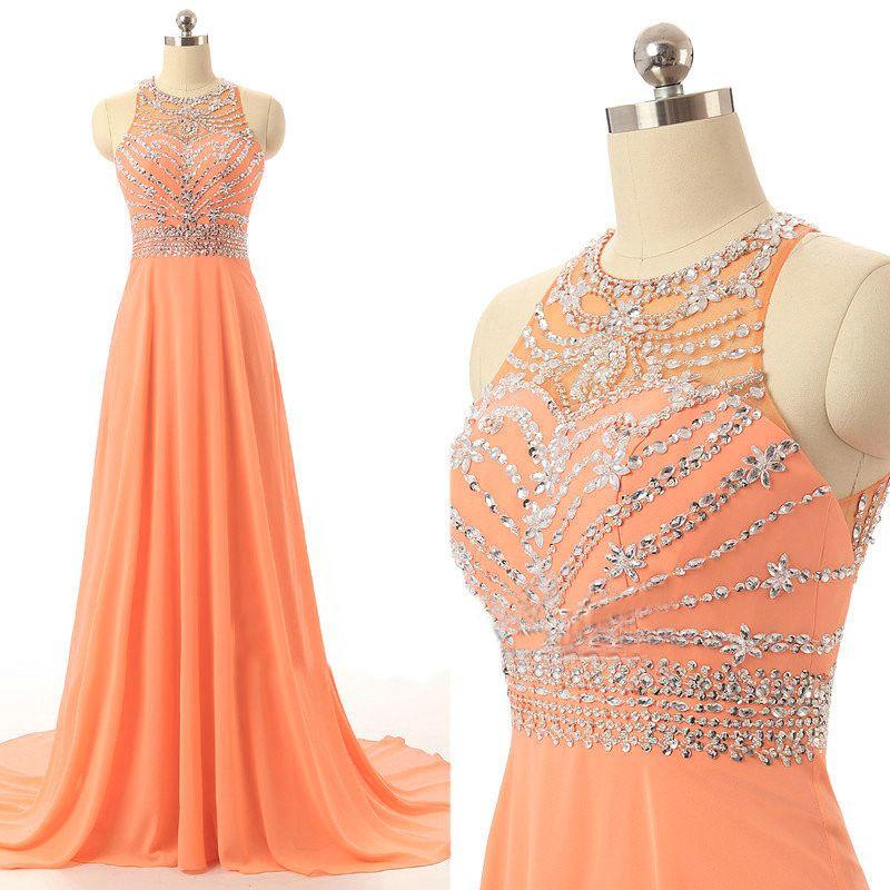 New Arrival Orange Prom Dresses Long Elegant Chiffon Party Evening ...