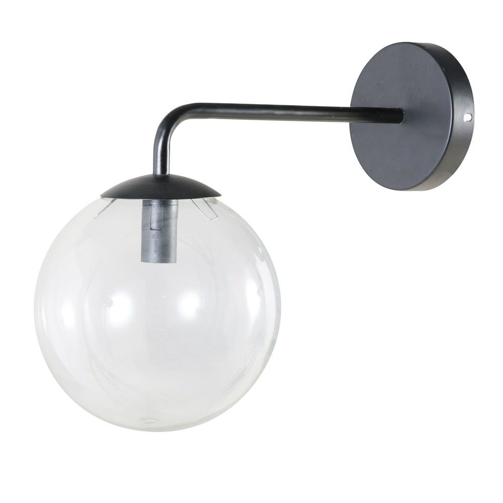 Nachttischleuchte Kugel Touch Glass And Black Metal Globe Wall Lamp Home Wall Lights Metal