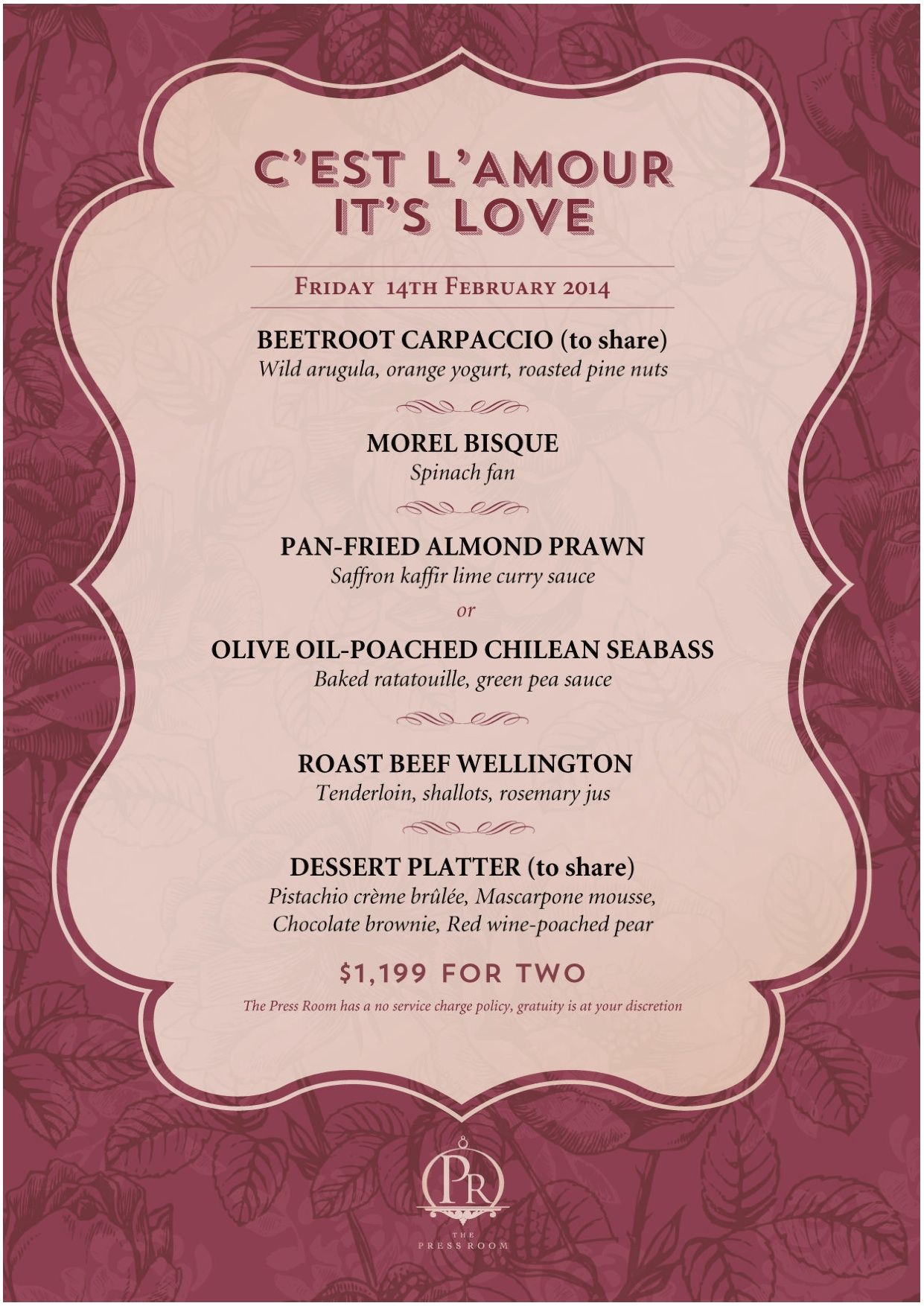 The Press Room Valentineu0027s Day Menu | Reserve A Table At Http://chope