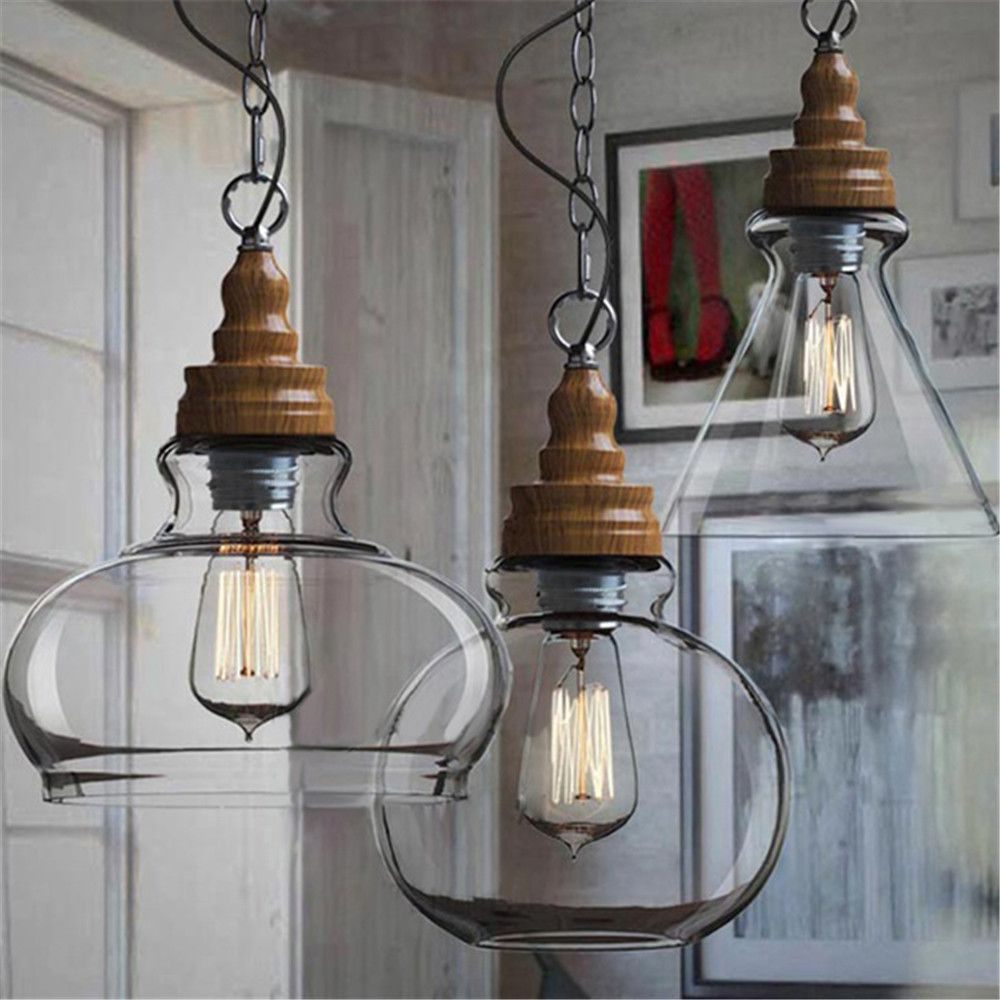 Creative Loft Style Vintage Industrial Pendant Lights Three Shades Glass  Ceiling Lamp For Office Kitchen Bar