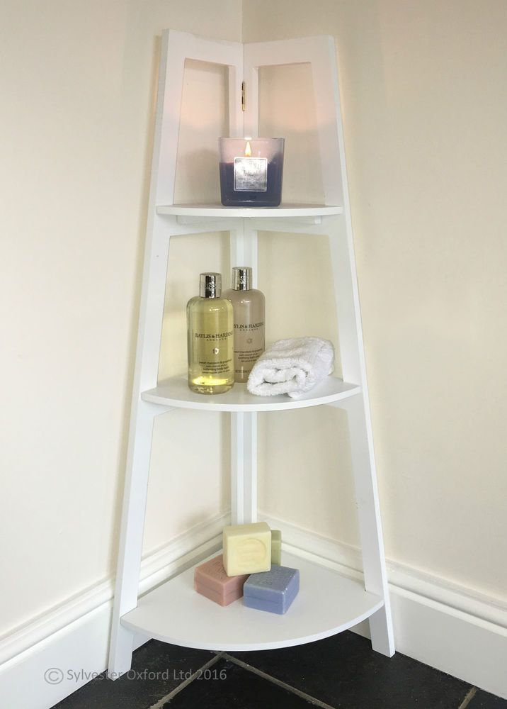Bathroom Corner Shelving Unit White Vintage Shabby Chic Plant Stand Furniture In Home