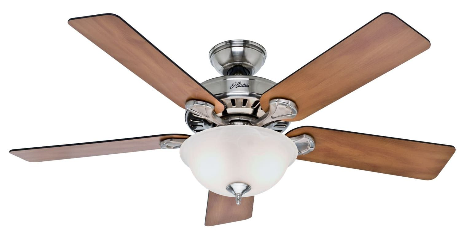 "Hunter Pros Best 52"" Indoor Ceiling Fan - 5 Reversible Blades and Light Kit Incl Brushed Nickel Fans Ceiling Fans Indoor Ceiling Fans"