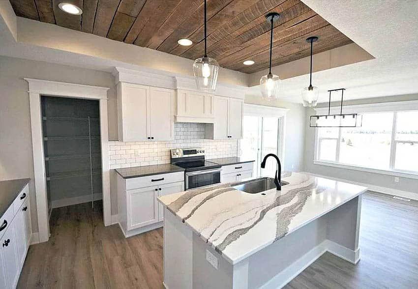 Wood Kitchen Ceiling Design Ideas In 2020 Kitchen Ceiling Design House Ceiling Design Coffered Ceiling Kitchen