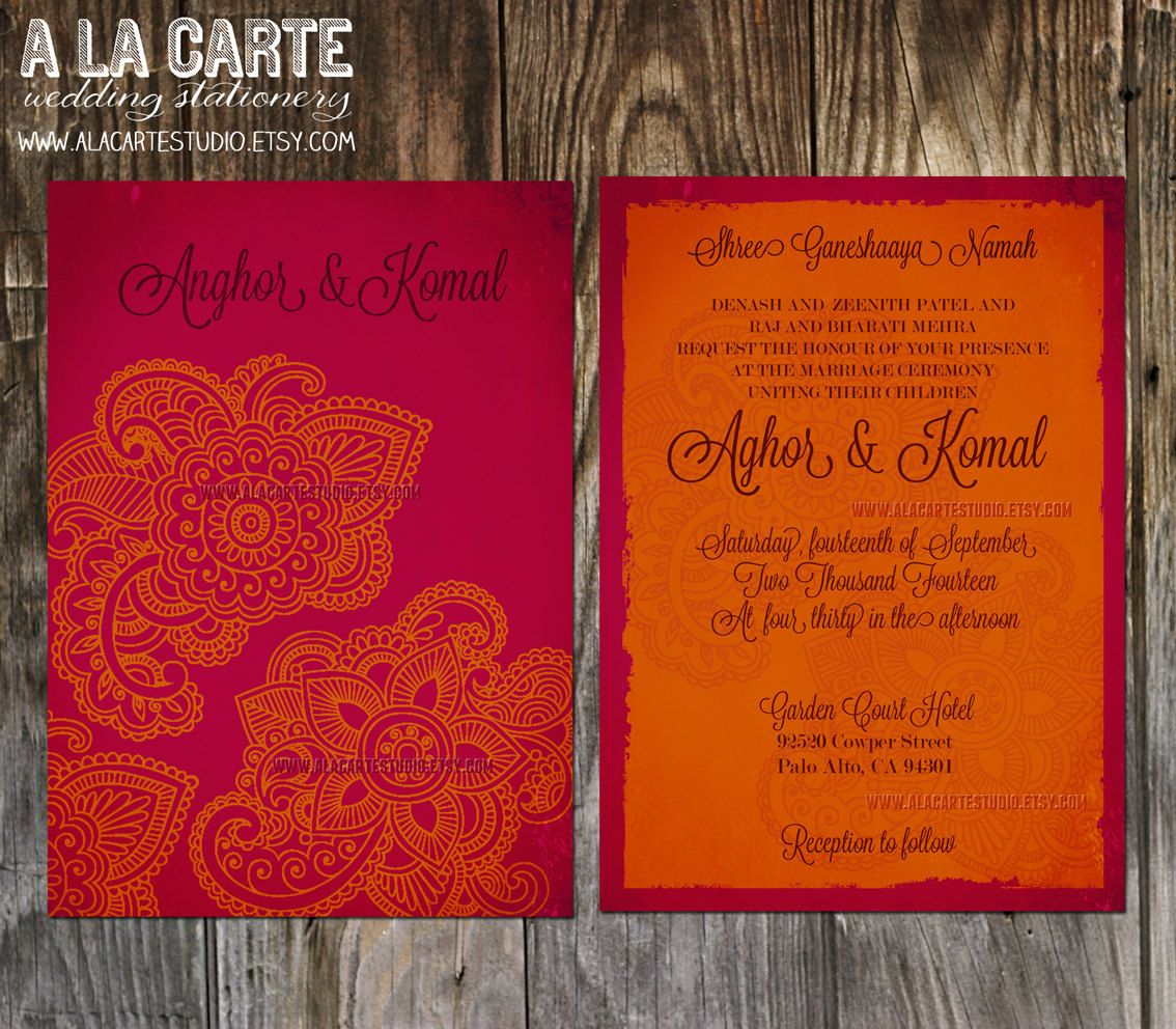 Indian Style Wedding Invitation in orange red Indian Arabic Henna ...