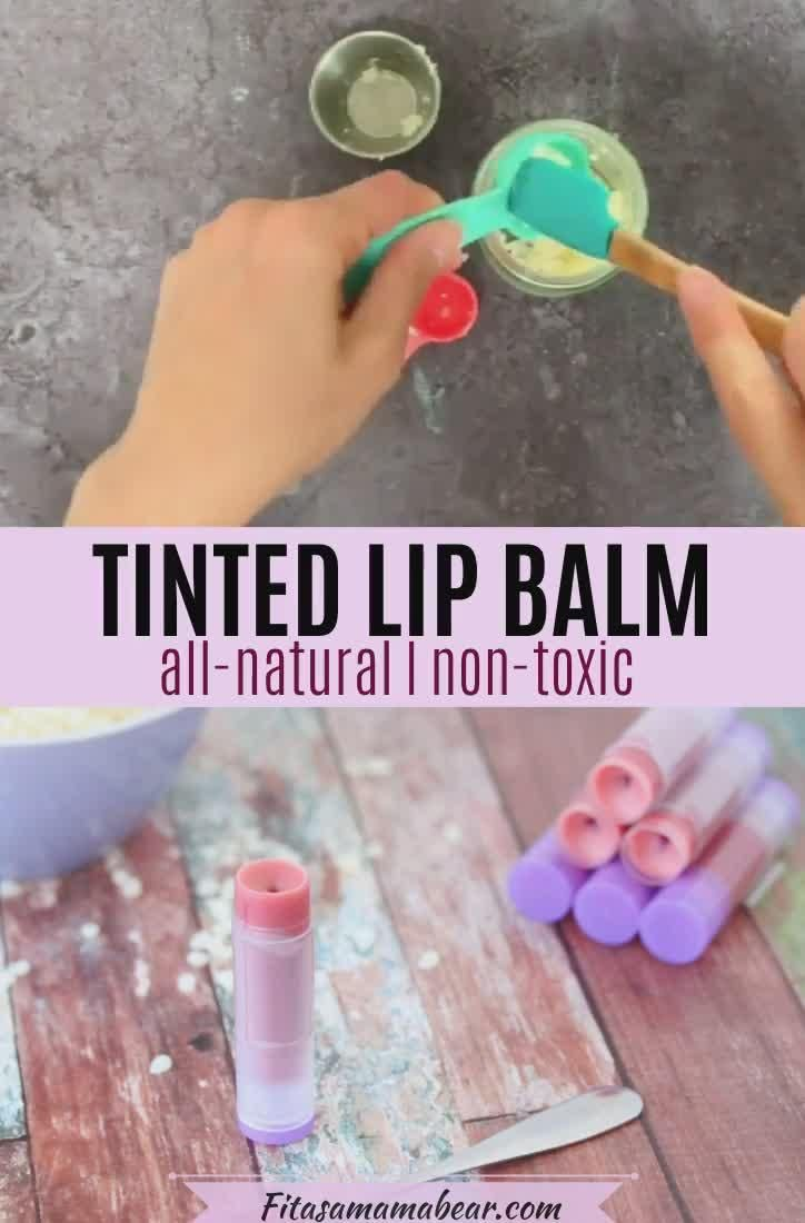 Skip store-bought and make your own. This tinted lip balm recipe is an easy DIY made with all-natural ingredients #lipgloss #chapstick #allnatural #skincare #diy