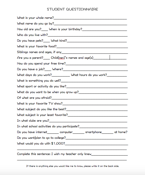 Student Questionnaire Appropriate For My Urban High School Kids Student Questionnaire High School First Day Student Survey