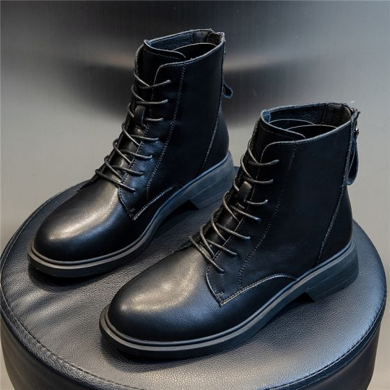Modest Simple Winter Casual Black Leather Round Toe Womens Boots 2020 Womens Boots Boots Casual Black