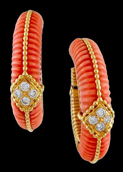 Van Cleef & Arpels Diamond and Coral Earrings