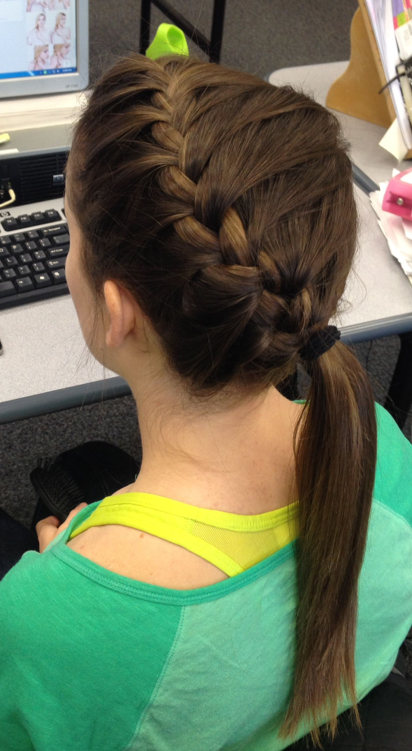 """Megan's awesome """"athletic"""" hair that I did! off to the side french braid 