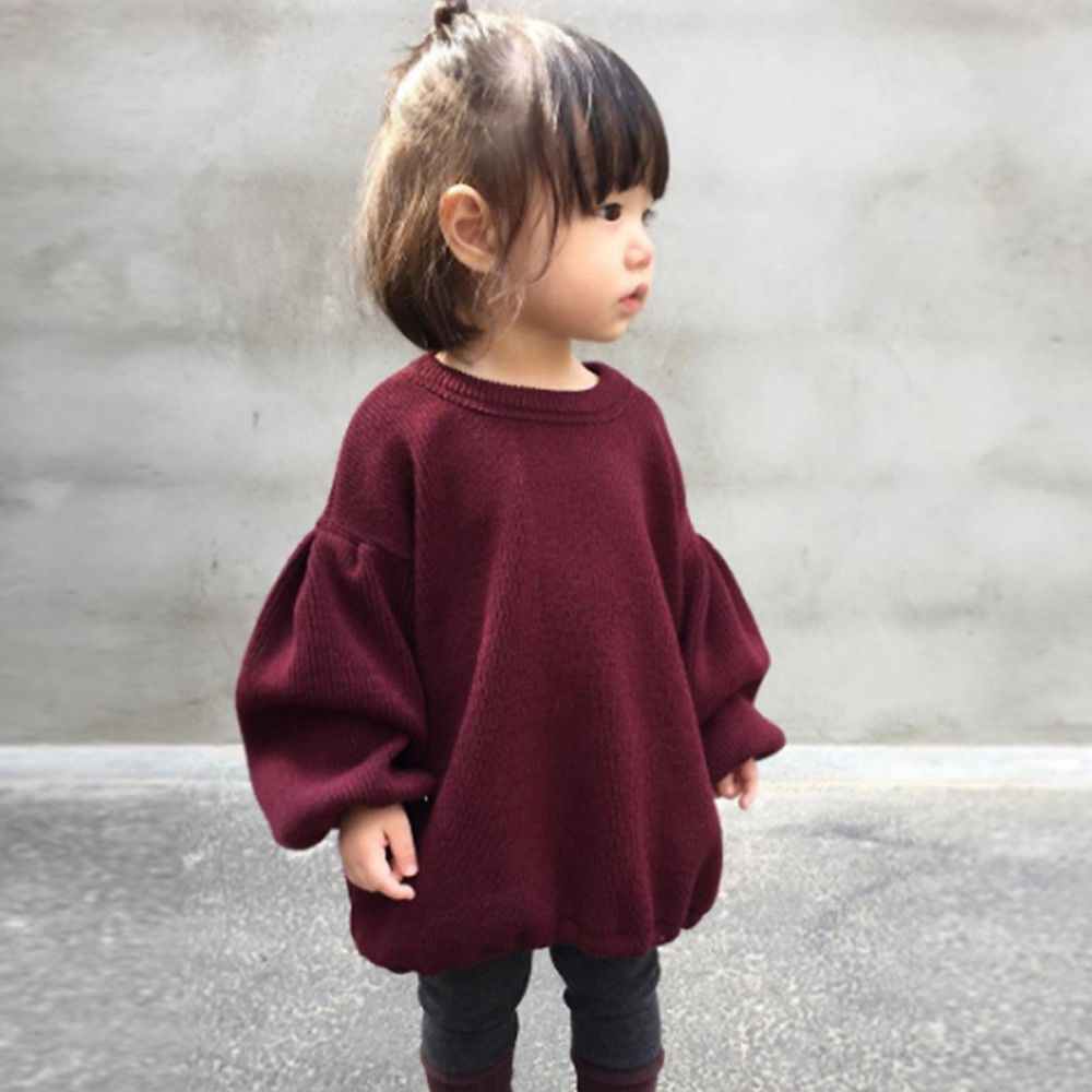 f9fd244460fd Toddler Kids Baby Girl Sweaters Blouse Lantern Long Sleeve Pullover ...