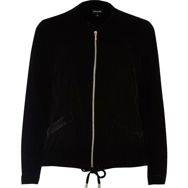 River Island Black velvet bomber shacket ( 80) ❤ liked on Polyvore  featuring outerwear 8fb1e3aae