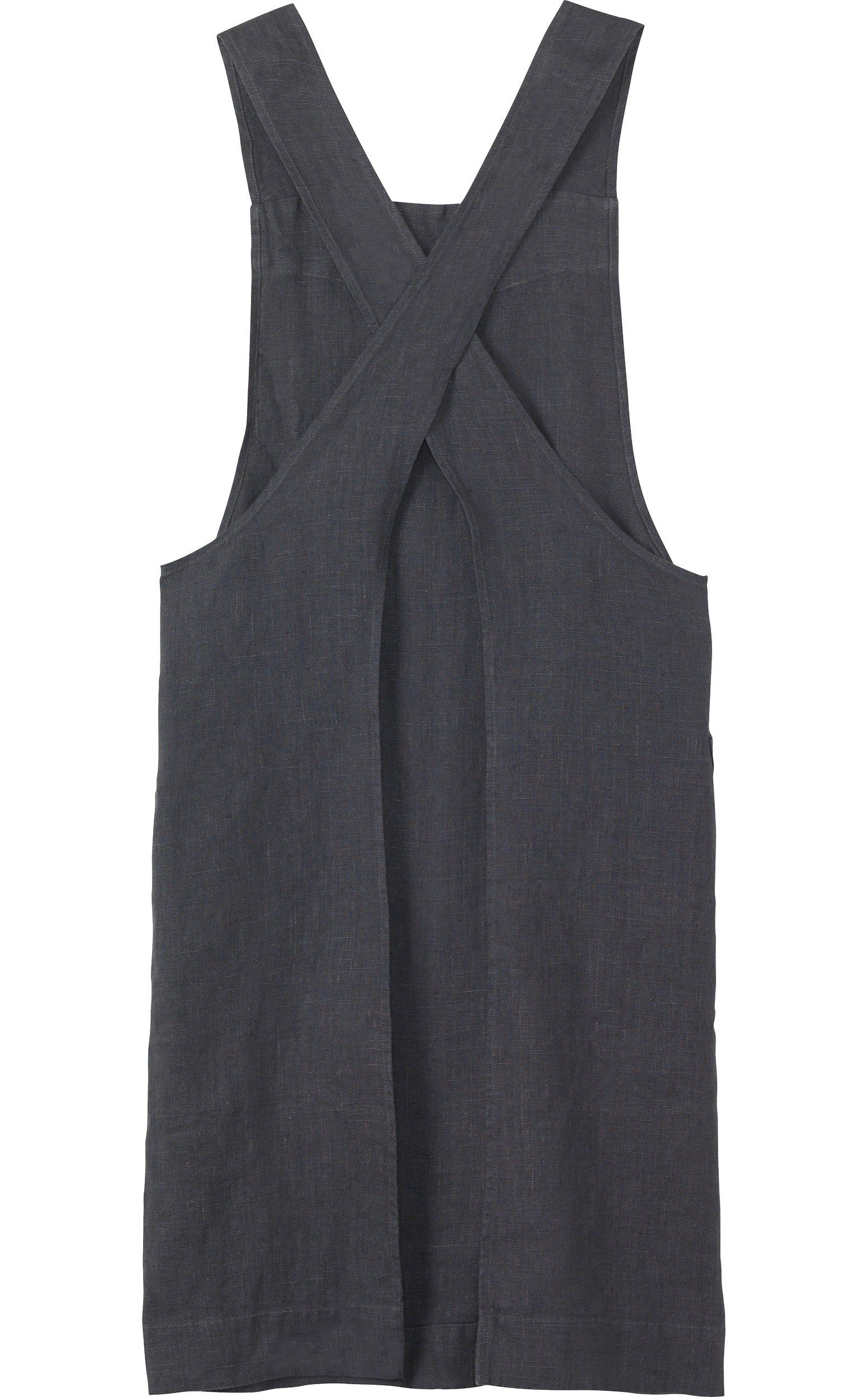 72562460c33 Apron in good quality, slubby, robust washed linen from the Baltic. Two,  wide straps cross over at the back. Two patch pockets.