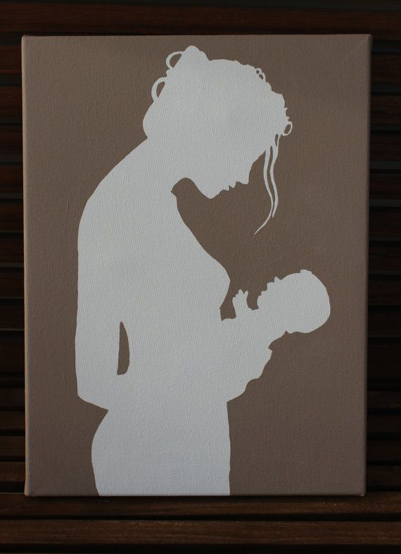 Hand painted Mother and child silhouette on canvas by Justthewoods, $35.00