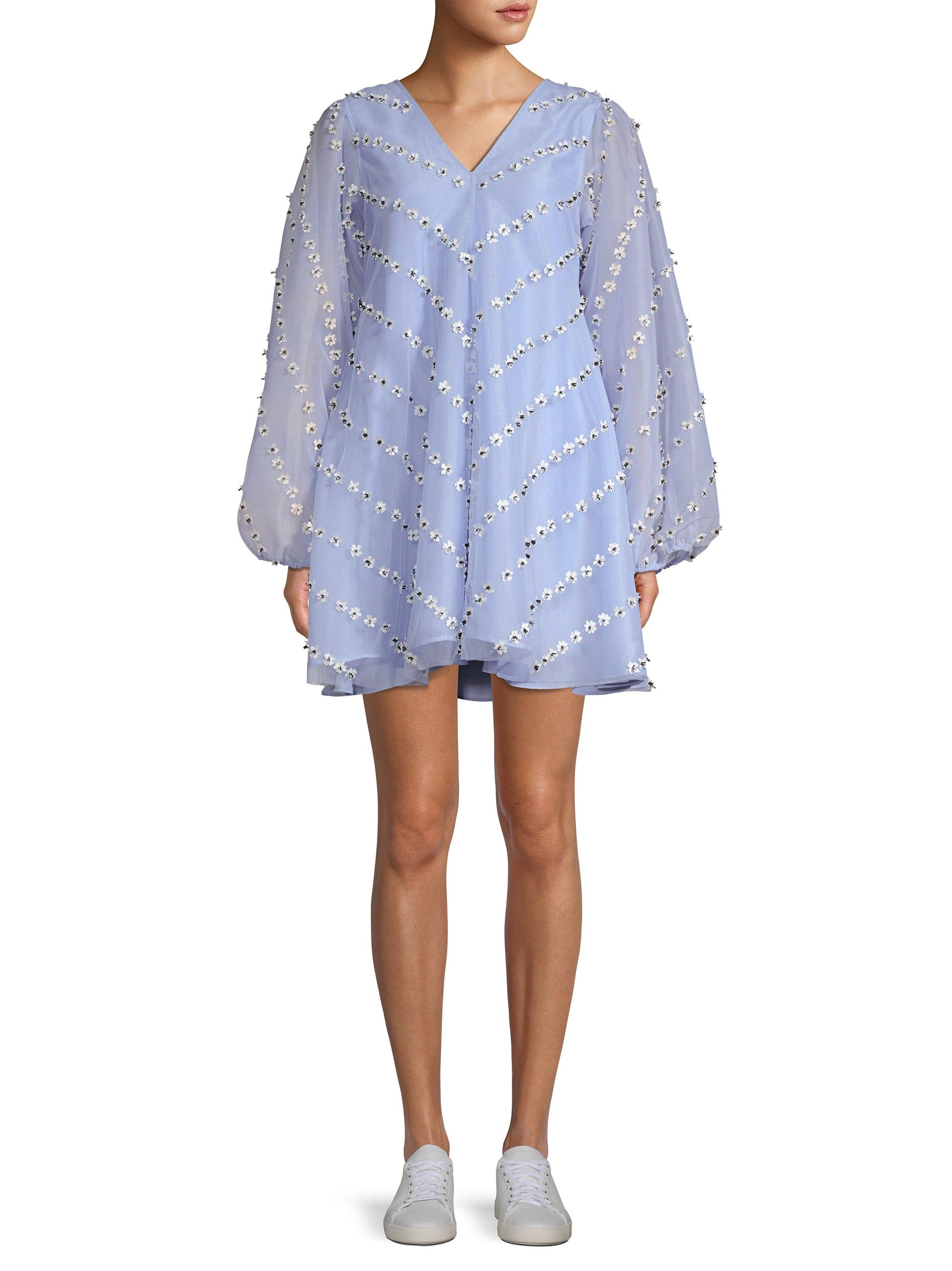 ac776105d581 Ganni Rosenfeld Daisy Appliqué Mini Trapeze Dress - Serenity Blue 42 (8)