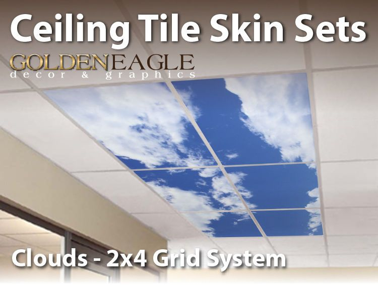 Ceiling Tile Skin Clouds Kit 400x40 Grid Glue Up Decorative Panel Cover Simple Decorative Drop Ceiling Tiles 2X4