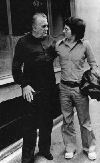Federico Fellini and young Steven Spielberg, 1973.