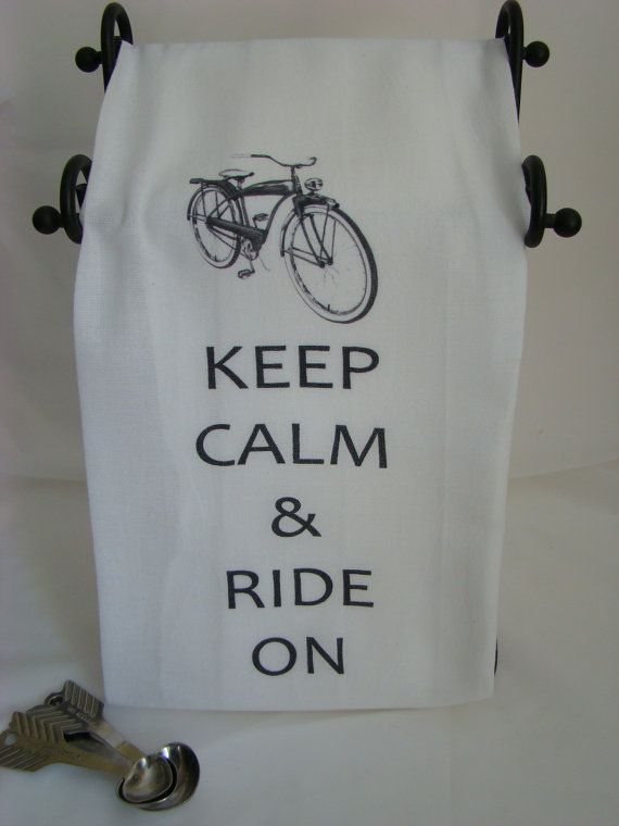 Retro Bicycle  Keep Calm & Ride On  Tea towel by SweetBohemianLife, $12.00