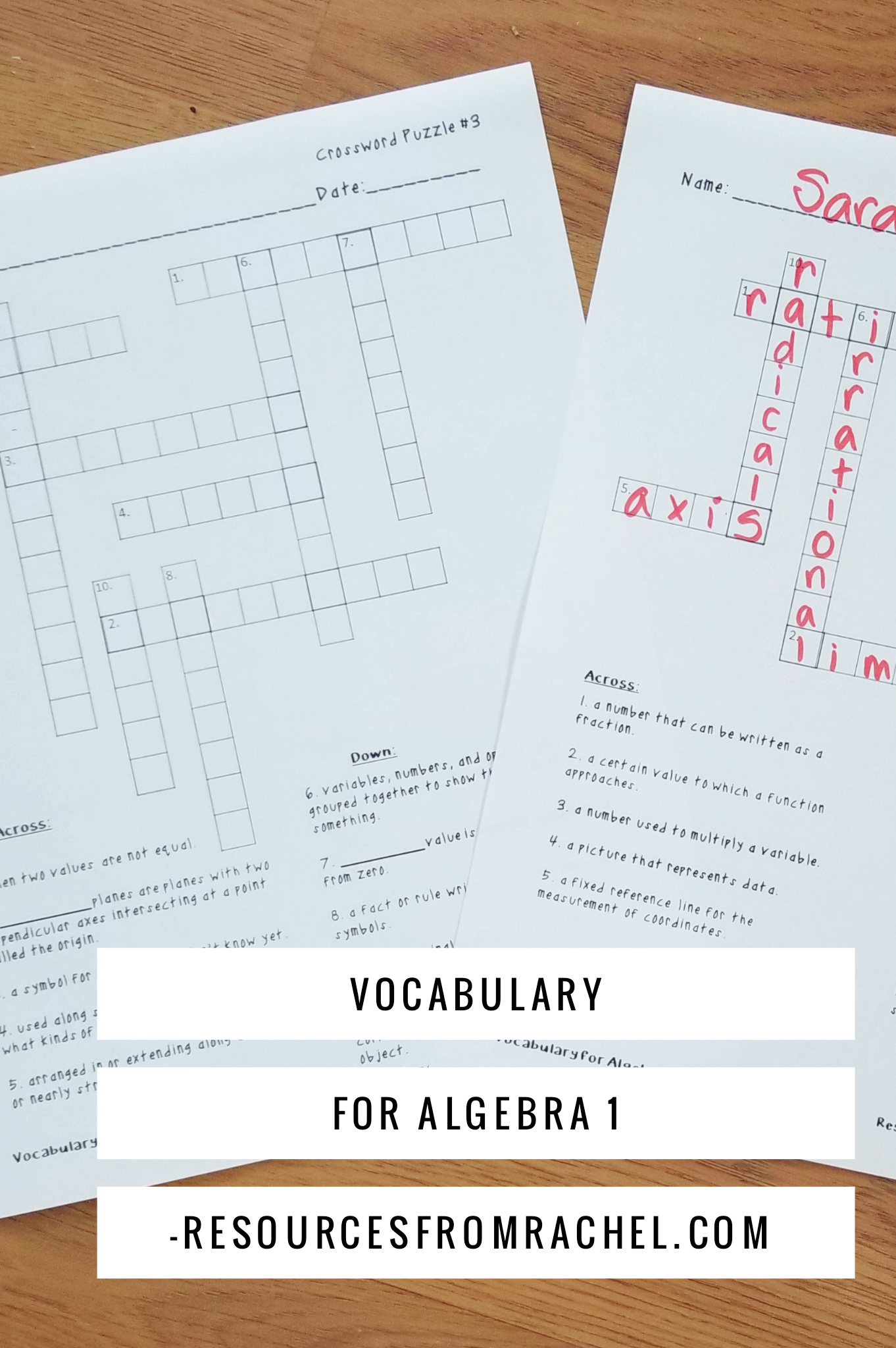 The Packet Covers 100 Vocabulary Words For Algebra 1