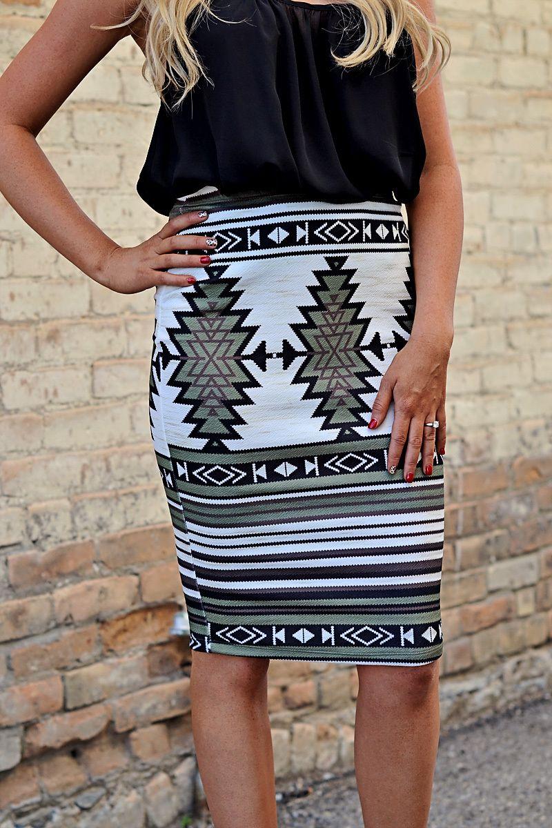 Aztec Pencil Skirt >Olive< - RubyClaire Boutique