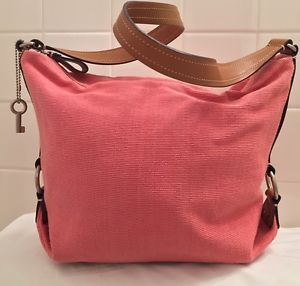 Fossil Handbag Salmon Pink Woven With Leather Accents Purse Gently ...