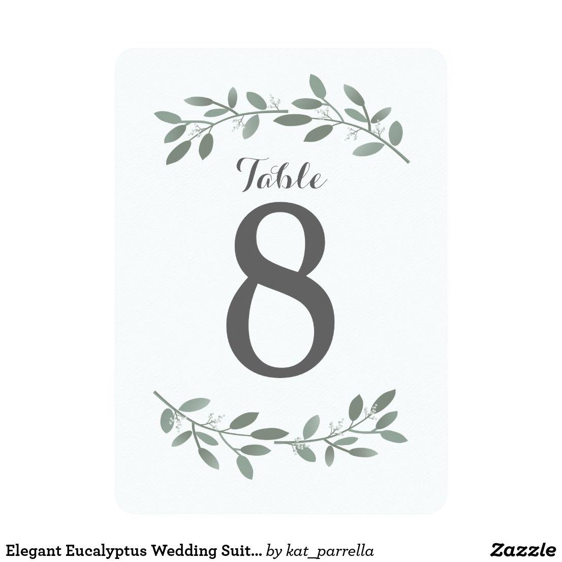 Elegant Eucalyptus Wedding Suite Table Numbers Table Numbers