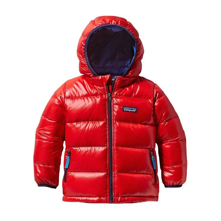 aa954e9f3 Patagonia Baby Hi-Loft Down Sweater Hoody - French Red FRR | Boy ...